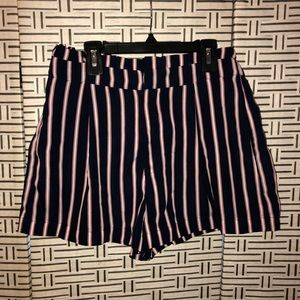 Striped Paper-bag shorts